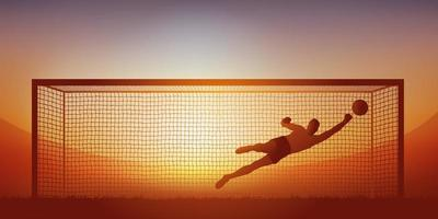 Goalkeeper stoppage during a football match vector