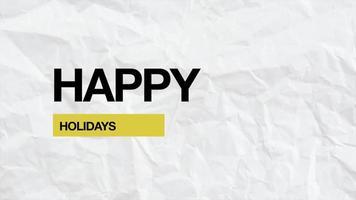 Animation Intro Text frohe Feiertage auf weißem Hipster und Grunge-Hintergrund video