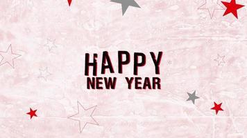 animatie intro tekst gelukkig nieuwjaar op roze hipster en grunge achtergrond met sterren