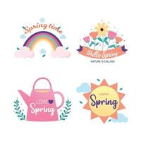 Spring time badge and label collection. Spring design. Hello spring. Hand drawn. Vector illustration.