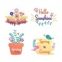 Happy spring badge and label collection. Hello spring. Hand drawn. Vector illustration. Spring design.