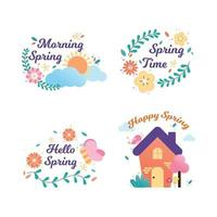 Happy spring badge and label collection. Hand drawn. Vector illustration. Spring design.