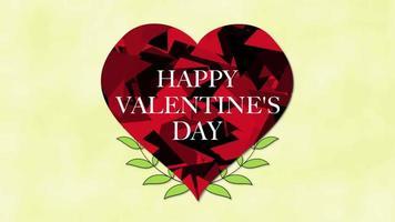 geanimeerde close-up gelukkige Valentijnsdag tekst en beweging abstract rood hart met bloemen op Valentijnsdag achtergrond video