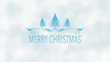 animierte Nahaufnahme frohe Weihnachtstext, blaue Weihnachtsbäume auf Schneehintergrund