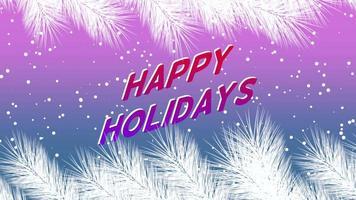 animierte Nahaufnahme frohe Feiertagstext und Winterlandschaft mit Schneeflocken und Weihnachtsbaumzweigen auf Feiertagshintergrund