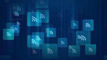 ícones de feed de movimento em fundo de rede simples