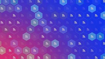 ícones de feed de movimento em fundo de rede simples video