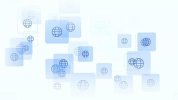 ícone de globo de movimento em fundo de rede simples