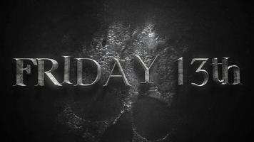 texto de animação sexta-feira 13 sobre fundo de terror místico com caveira escura