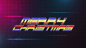 texto de introducción de animación feliz navidad y líneas abstractas azules y rojas en la cuadrícula, fondo de vacaciones retro video