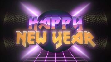 Animación texto de introducción feliz año nuevo y círculo abstracto retro en cuadrícula, fondo de vacaciones retro video