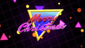 texto de introducción de animación feliz navidad y triángulo retro abstracto, fondo de vacaciones retro video