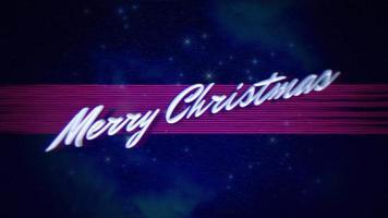 texto de introducción de animación feliz navidad y líneas de ruido en galaxia, fondo de vacaciones retro video