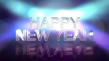 animation text gott nytt år och rörelse färgglada strålar ljus på scenen, abstrakt semester bakgrund