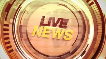 animação texto notícias ao vivo e gráfico de introdução de notícias com linhas douradas e formas circulares em estúdio
