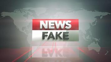 animação texto notícias falsas e gráfico de introdução de notícias com linhas e mapa-múndi em estúdio, fundo abstrato