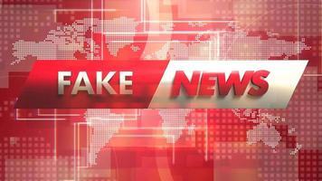 animação texto notícias falsas e gráfico de introdução de notícias com linhas e mapa-múndi em estúdio video