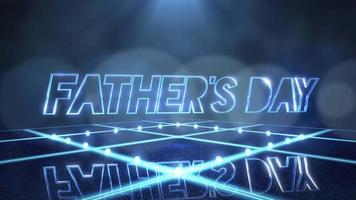 texte d'animation fête des pères et mouvement lumière bleue et paillettes sur scène, fond abstrait de vacances video