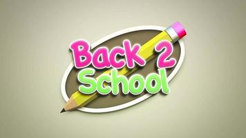 texto animado closeup de volta às aulas e plano de fundo de crianças com lápis colorido