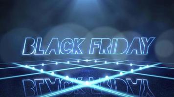 Animación texto de introducción viernes negro y luces de discoteca de movimiento azul en el escenario, fondo abstracto video