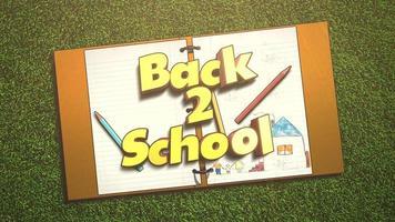 texto animado closeup de volta à escola e plano de fundo de crianças com caderno e lápis, plano de fundo da escola