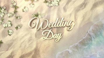 närbild text bröllopsdag och sandstrand med blå vågor av havet och blommor, sommar bakgrund