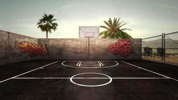 panorama da paisagem da cidade com quadra de basquete vazia e muitas palmeiras no parque, pôr do sol no dia de verão video