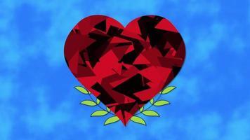 closeup animado coração vermelho grande romântico com flores sobre fundo azul do dia dos namorados