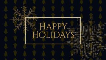 animierte Nahaufnahme frohe Feiertagstext und Goldschneeflocken mit auf Feiertagsschwarzem Hintergrund