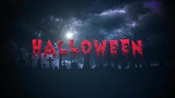 Animationstext Halloween auf mystischem Halloween-Hintergrund mit dunklen Wolken und Grab auf Friedhof