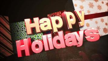 Primer plano animado feliz Navidad texto, cajas de regalo en la habitación, fondo de madera video