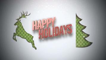 primer plano animado feliz navidad texto, árbol de navidad verde y ciervos en la nieve