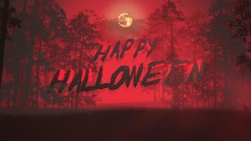 texto de animação feliz dia das bruxas e fundo místico com floresta escura e neblina video