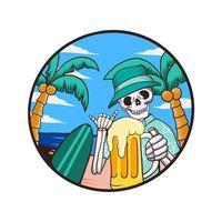 skull summer beach vector