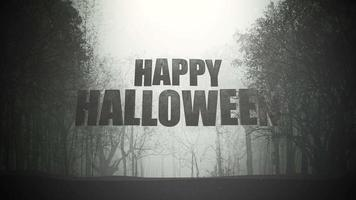 texto de animação feliz dia das bruxas e fundo místico com floresta escura e neblina