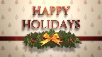 closeup animado texto de boas festas, ramo de natal verde na caixa de presente