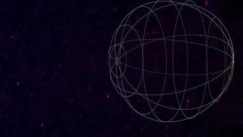 rörelse geometrisk form med partiklar i rymden, abstrakt bakgrund video