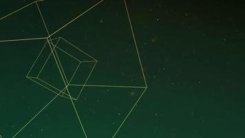 rörelse abstrakt geometrisk form med partiklar i rymden, galax bakgrund video