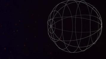 beweging abstracte geometrische vorm met deeltjes in de ruimte, melkwegachtergrond video