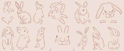lindo conejito, conejo ilustración y dibujos animados aislados en el fondo para el día de pascua vector