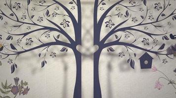 closeup flores vintage e movimento de árvore, plano de fundo do casamento