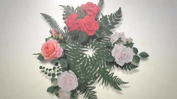 flores em movimento closeup, fundo de casamento