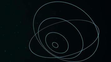 forma geométrica de movimento com partículas no espaço, fundo escuro preto abstrato video