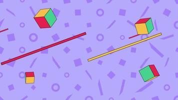 movimento formas geométricas abstratas linhas e cubos, fundo roxo de memphis video