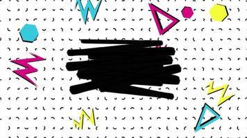 beweging abstracte geometrische vormen driehoeken en zigzag, stippen Memphis achtergrond