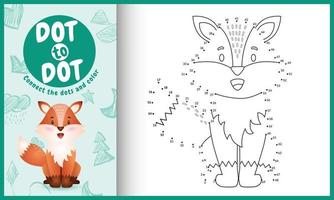 Connect the dots kids game and coloring page with a cute fox character illustration vector