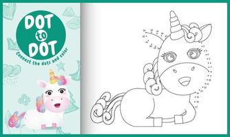 Connect the dots kids game and coloring page with a cute unicorn character illustration vector
