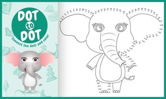 Connect the dots kids game and coloring page with a cute elephant character illustration vector