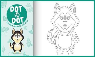 Connect the dots kids game and coloring page with a cute husky dog character illustration vector