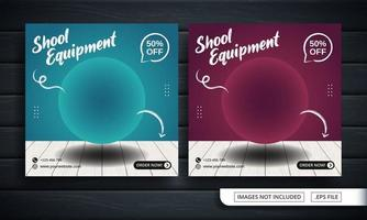 Blue and Red Flyer or Social Media Banner for School Equipment Shop vector